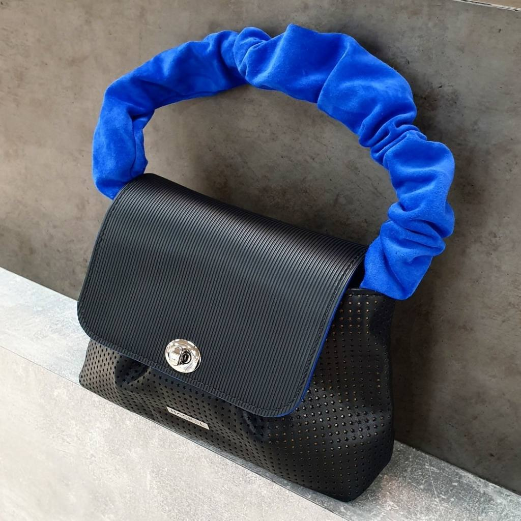 Black with blue suede handle
