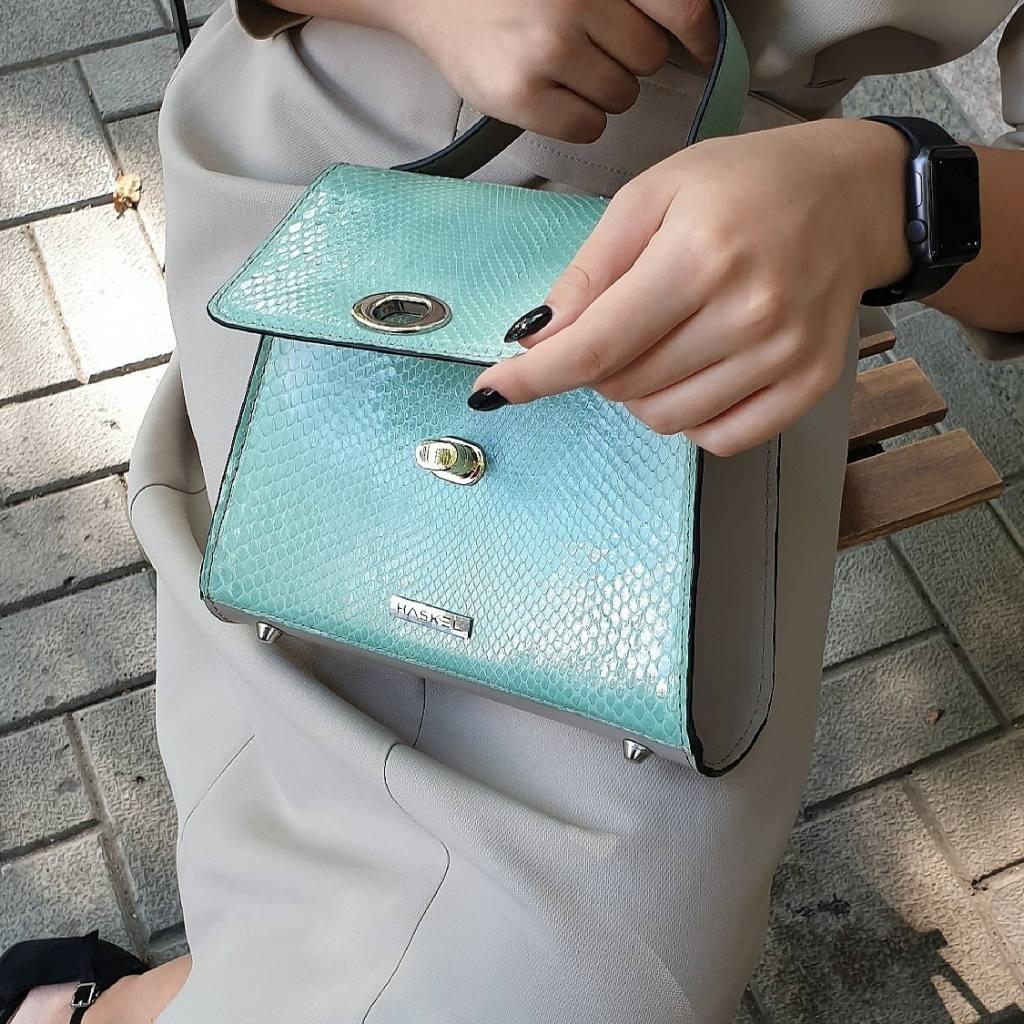 Mini trapeze bag genuine python in aquamarine colour