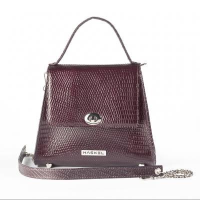 Mini trapeze bag, iguana effect coloured burgundy